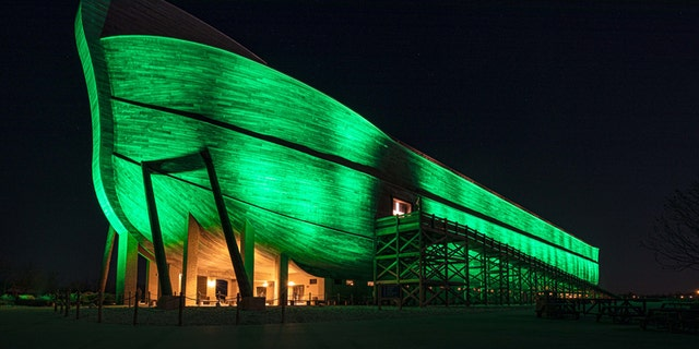 The Ark Encounter, which is located in Kentucky about 40 miles south of Cincinnati, was lit up green to show support against the coronavirus pandemic.