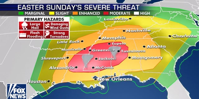 A severe weather outbreak is forecasted for Easter Sunday across the Southeast, with the greatest threats in Louisiana, Mississippi, and into Alabama.