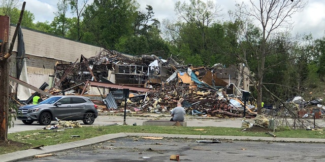 Damage in East Chattanooga after a tornado ripped through the area early Monday.