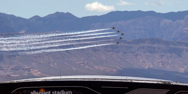 The U.S. Air Force Air flight demonstration squadron, the Thunderbirds, show their support for frontline COVID-19 healthcare workers and first responders with a flyover in Las Vegas, Saturday, April 11, 2020.