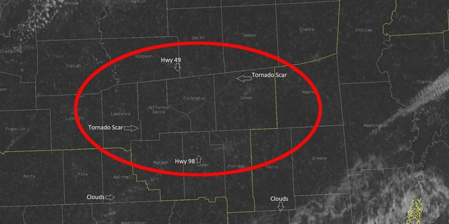 Tornado scars can be seen in Mississippi on satellite after severe storms on Easter Sunday, including a violent tornado that traveled over 60 miles.