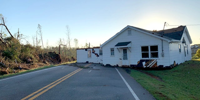 A house was dropped in the middle of Highway 74 in Upson County, Georgia after an apparent tornado early Monday.