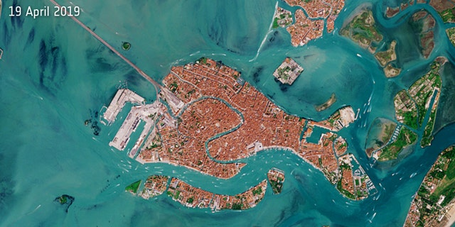The satellite image of Venice captured April 19, 2019, by the European Space Agency's Copernicus Sentinels satellite fleet, which is dedicated to delivering data and imagery to the European Union's Copernicus environmental program.