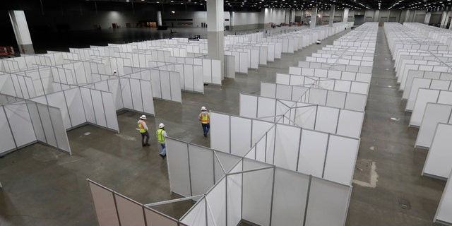 In this April 1 photo, the interior of the TCF Center with temporary hospital rooms is seen inside the convention center in Detroit. In the decade before Michigan and its largest city became the latest hotspot for the deadly coronavirus, officials were steadily cutting back on their first line of defense against pandemics and other health emergencies. Approaching bankruptcy, Detroit disbanded most of its public health department and handed its responsibilities to a private nonprofit. (AP Photo/Carlos Osorio)