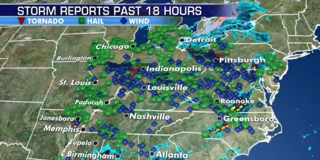 Damage reports from severe weather across the Midwest on Wednesday.