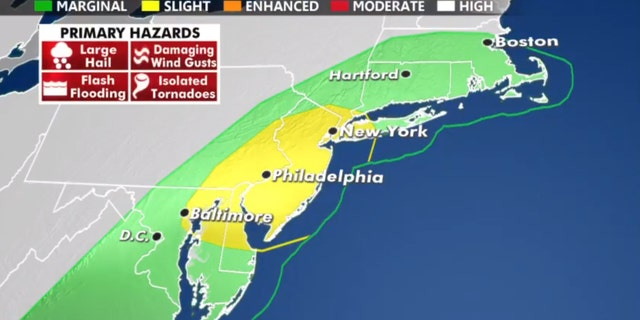The threat of severe weather on Thursday stretches from Washington D.C. to New York City.