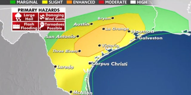 The threat of severe weather on Thursday also includes parts of Texas toward Louisiana.