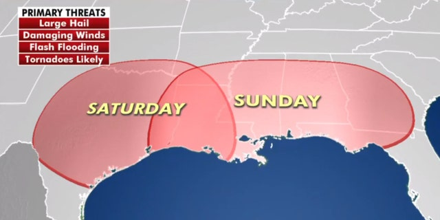 A severe weather outbreak is possible heading into Easter Sunday from Texas along the Gulf Coast.
