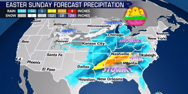 Easter Sunday forecast may be stormy across the Southeast, with the potential for severe storms and heavy rain.