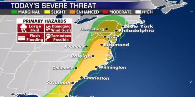 The severe weather threat for Monday.