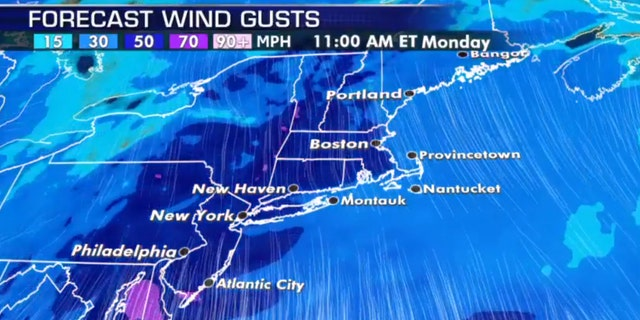 High winds are in the forecast for Monday in the Mid-Atlantic and Northeast from a powerful storm system.