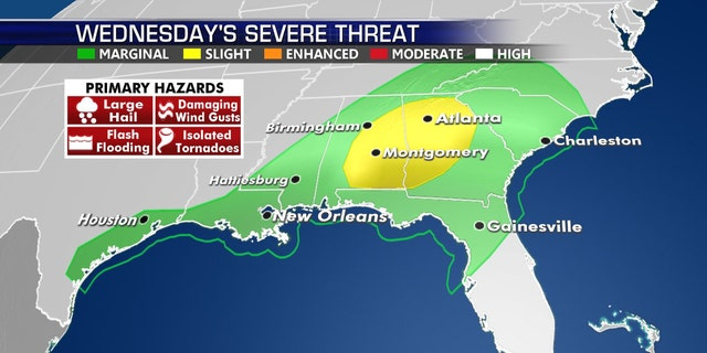 The severe weather threat shifts to the Southeast by Wednesday.