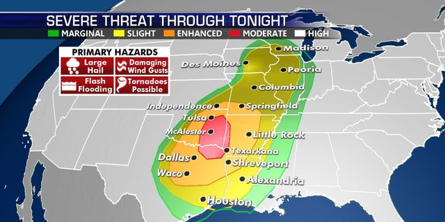 The threat for severe weather on Tuesday stretches from Texas to the Great Lakes.
