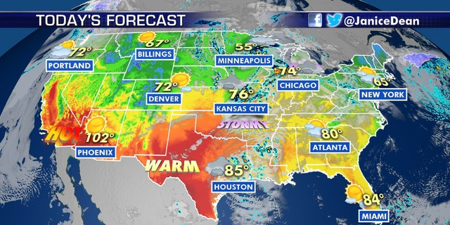 Severe thunderstorms are forecast across the Plains and into the Midwest on Tuesday.