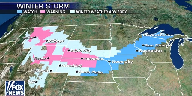 A snowstorm is forecast to bring impacts from Montana to Wisconsin over Easter weekend.
