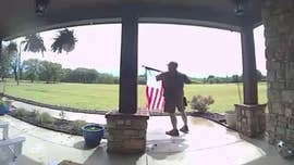 Video of UPS driver fixing rolled-up American flag goes viral