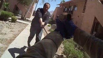 Las Vegas police release video of sword-wielding man charging officers before fatal shooting