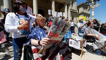 Michigan barbers, hairdressers give free haircuts at Capitol in defiance of Whitmer's coronavirus shutdown