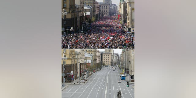 In this two photo combination picture, top photo shows People carry portraits of relatives who fought in World War II, during the Immortal Regiment march through the main street toward Red Square celebrating 74 years since the victory in WWII in Red Square in Moscow, Russia on taken on Thursday, May 9, 2019, and bottom photo shows an almost empty main street during the 75th anniversary of the Nazi defeat in World War II in Moscow, Russia, Saturday, May 9, 2020.