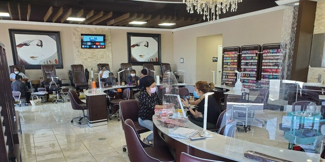 Allure Nail Spa takes precautions such as the use of masks and plexiglass barriers between technicians and customers.