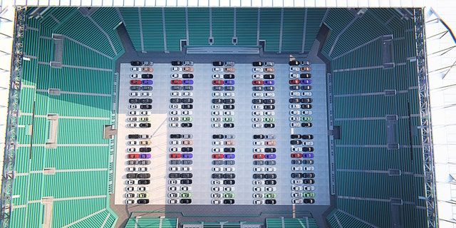 Cars will be lined up inside Hard Rock Stadium. (Courtesy Miami Dolphins)