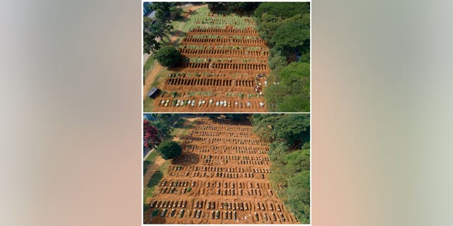 This combo shows freshly dug graves, top, on April 1, 2020 at the Vila Formosa cemetery in Sao Paulo, Brazil, compared to one month later on April 30 with the graves filled in. Sao Paulo authorities dug hundreds of new graves in anticipation of an increase in the city's death rate amid the presence of the new coronavirus pandemic.