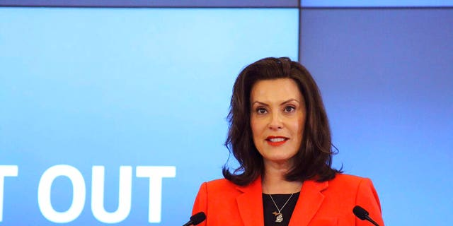 Michigan Gov. Gretchen Whitmer speaks in Lansing, Mich., Monday, May 4, 2020.