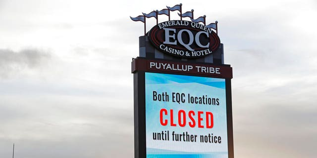 A sign last month indicating that the new Emerald Queen Casino in Tacoma, Wash., owned by the Puyallup Tribe of Indians, has been closed for the time being.