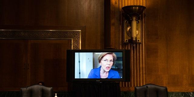 Sen. Elizabeth Warren speaking via video link at the hearing.