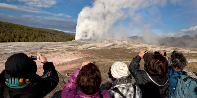 Tourists photograph Old Faithful in 2011 erupting on schedule late in the afternoon in Yellowstone National Park, Wyo. (AP Photo / Julie Jacobson)