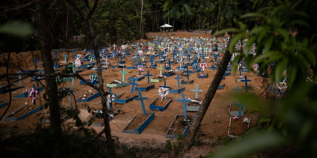 Graves for people who have died in the past month fill a new section of the Nossa Senhora Aparecida cemetery, amid the new coronavirus pandemic, in Manaus, Brazil. (AP Photo/Felipe Dana)