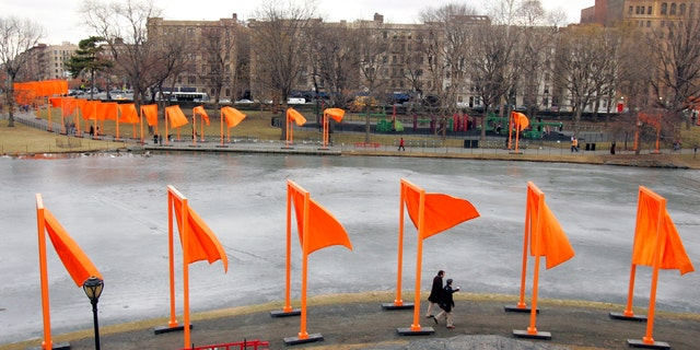 """""""The Gates,"""" by artists Christo and Jeanne-Claude, in New York City's Central Park in 2005."""