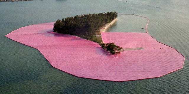 """""""Surrounded Islands,"""" by Christo, in the process of being installed in Miami in 1983."""