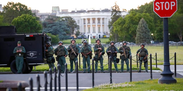 Law enforcement officers from Calvert County Maryland Sheriff's Office standing on the Ellipse, area just south of the White House in Washington, as they watch demonstrators protest the death of George Floyd, Sunday, May 31, 2020. (AP Photo/Alex Brandon)