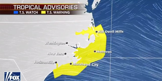 Tropical storm warnings are now in place in North Carolina before Tropical Storm Arthur gives a close pass.