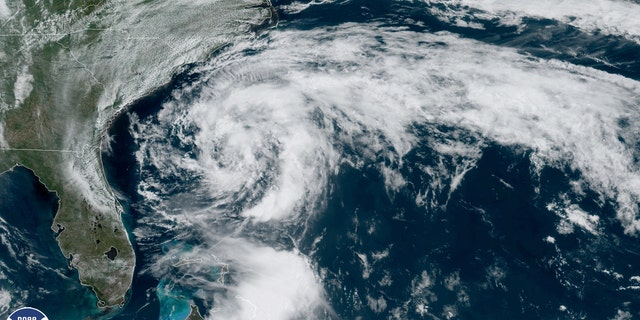 Tropical Storm Arthur can be seen swirling off the Southeast coast on Sunday, May 17, 2020.