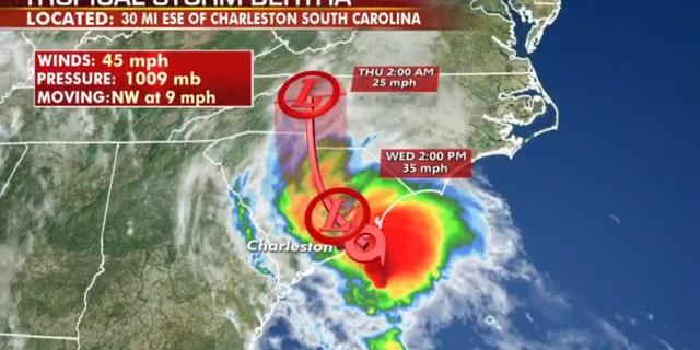 The forecast track of Tropical Storm Bertha.