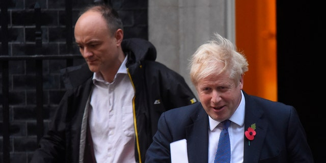 Prime Minister Boris Johnson and his political adviser Dominic Cummings in October 2019. (Peter Summers/Getty Images, File)
