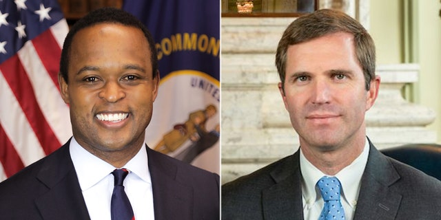 Republican Kentucky Attorney General Daniel Cameron (L) joined a church's lawsuit against Democratic Gov. Andy Beshear (R) to reopen faith-based services.