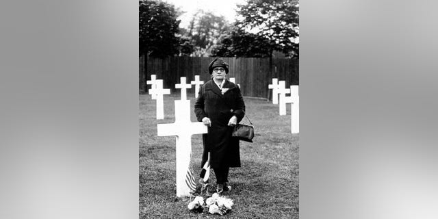 Great great grandmother Rosa Lorenz at her son's grave at Suresnes Cemetery in France, part of the Gold Star Mother Pilgrimage in 1930