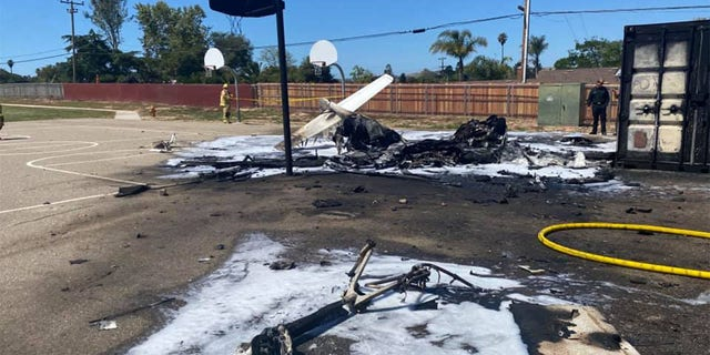 A pilot crashed on the grounds of an elementary school in Santa Barbara County Wednesday morning.