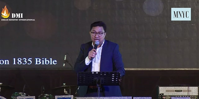 Pastor David Lah preaching in defiance of the government's coronavirus stay-at-home orders.
