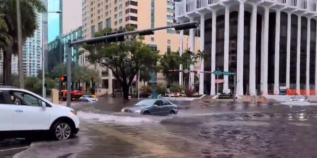 Flooding was reported in downtown Miami on Memorial Day as thunderstorms caused flash flooding.