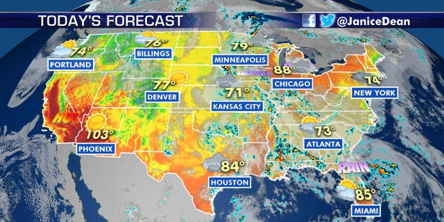 The forecast for Tuesday across the nation.