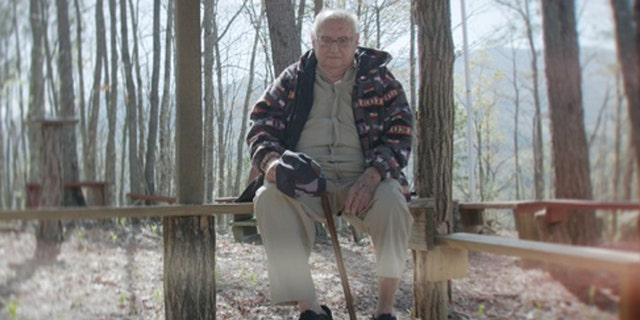Rev. Fred Lunsford, 95, at his prayer garden in Marble, North Carolina.