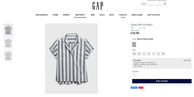 """The shirt, which has seemingly been pulled from sale on the Gap's U.S. and Canadian websites, was still advertized as a """"camp shirt"""" on the brand's U.K. site as of Friday morning."""