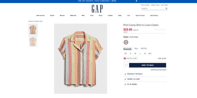 The brand still sells several varieties of camp-style shirts on its online shop, including different prints of the offending black-and-white version.
