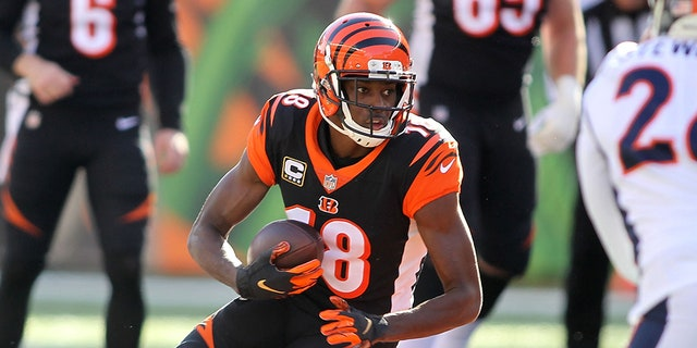 A.J. Green of the Cincinnati Bengals runs with the ball during the first quarter of the game against the Denver Broncos at Paul Brown Stadium on Dec. 2, 2018, in Cincinnati, Ohio. (John Grieshop/Getty Images)