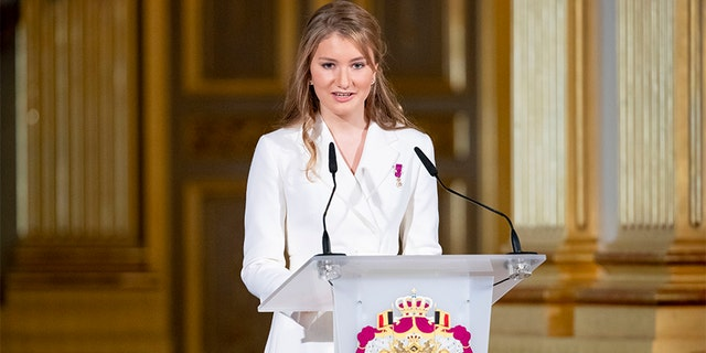 Princess Elisabeth of Belgium during the 18th birthday celebration of the Crown Princess in the Royal Palace on October 25, 2019, in Brussels, Belgium.
