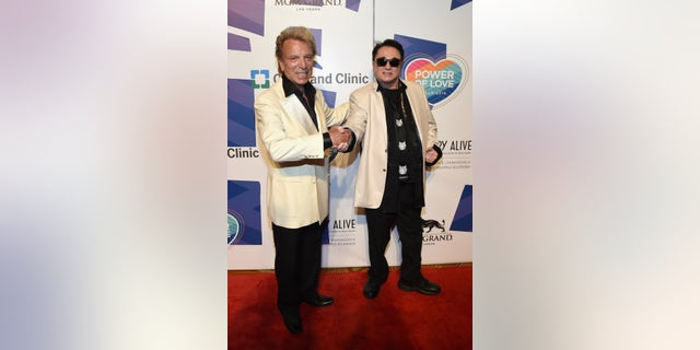 Siegfried Fischbacher and Roy Horn (R) attend the 19th annual Keep Memory Alive 'Power of Love Gala' benefit for the Cleveland Clinic Lou Ruvo Center for Brain Health honoring Andrea Bocelli and Veronica Bocelli at MGM Grand Garden Arena on June 13, 2015 in Las Vegas, Nevada.